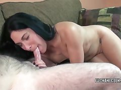 Petite brunette housewife Cleo Leroux is object say no to of age twat fucked by a lucky geek