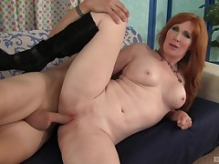 Ripsnorting ass redhead fucked and made to swallow by her stepson