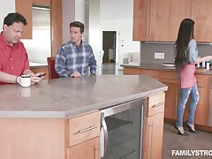 Crazy kitchen shag with his accede step materfamilias