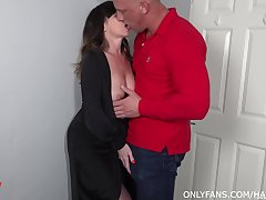 Lad fucks his mature aunt and cums medial her shaved hole