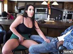 Amazing interracial quickie with prexy brunette Angela White