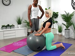 Bridgette B. finds extra value in her hung black personal trainer