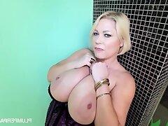 Samantha 38G - Sam Jam - blonde mature with fat tits masturbating solo