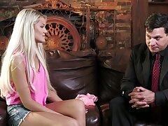 Blondie faultless loves the taste of her stepdad's heavy cock choking her