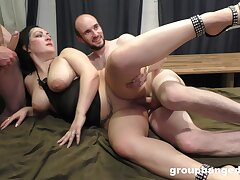 Chubby slut drops on her hands and knees to be fucked by lot of guys