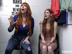 Redhead cuties Jane Rogers coupled with Lauren Phillips get fucked in the office